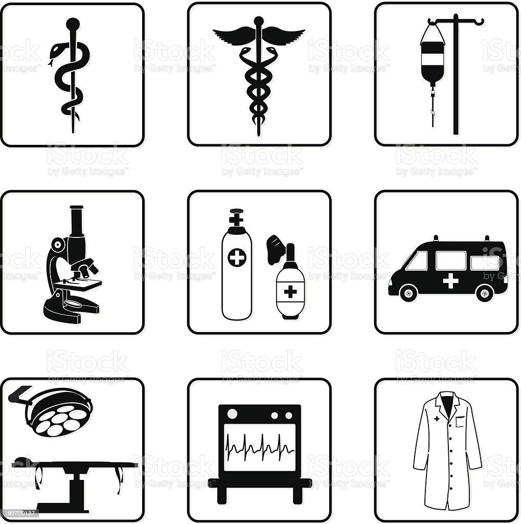 Símbolos y equipos médicos - ilustración de arte vectorial
