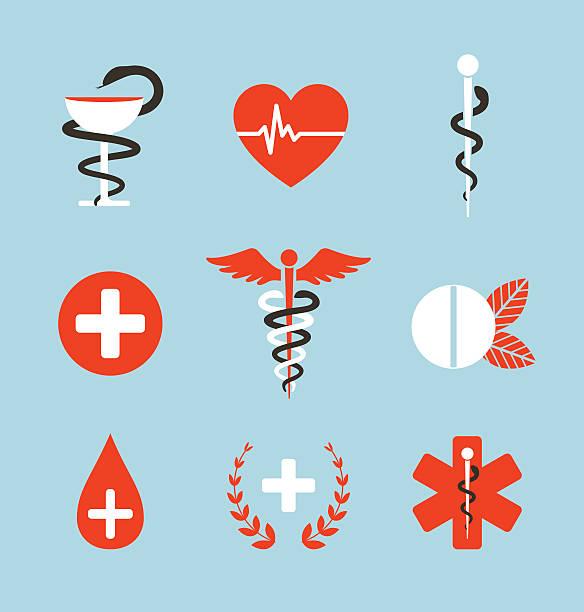 医療記号 emblems と標識のコレクション - ヘルメスの杖点のイラスト素材/クリップアート素材/マンガ素材/アイコン素材