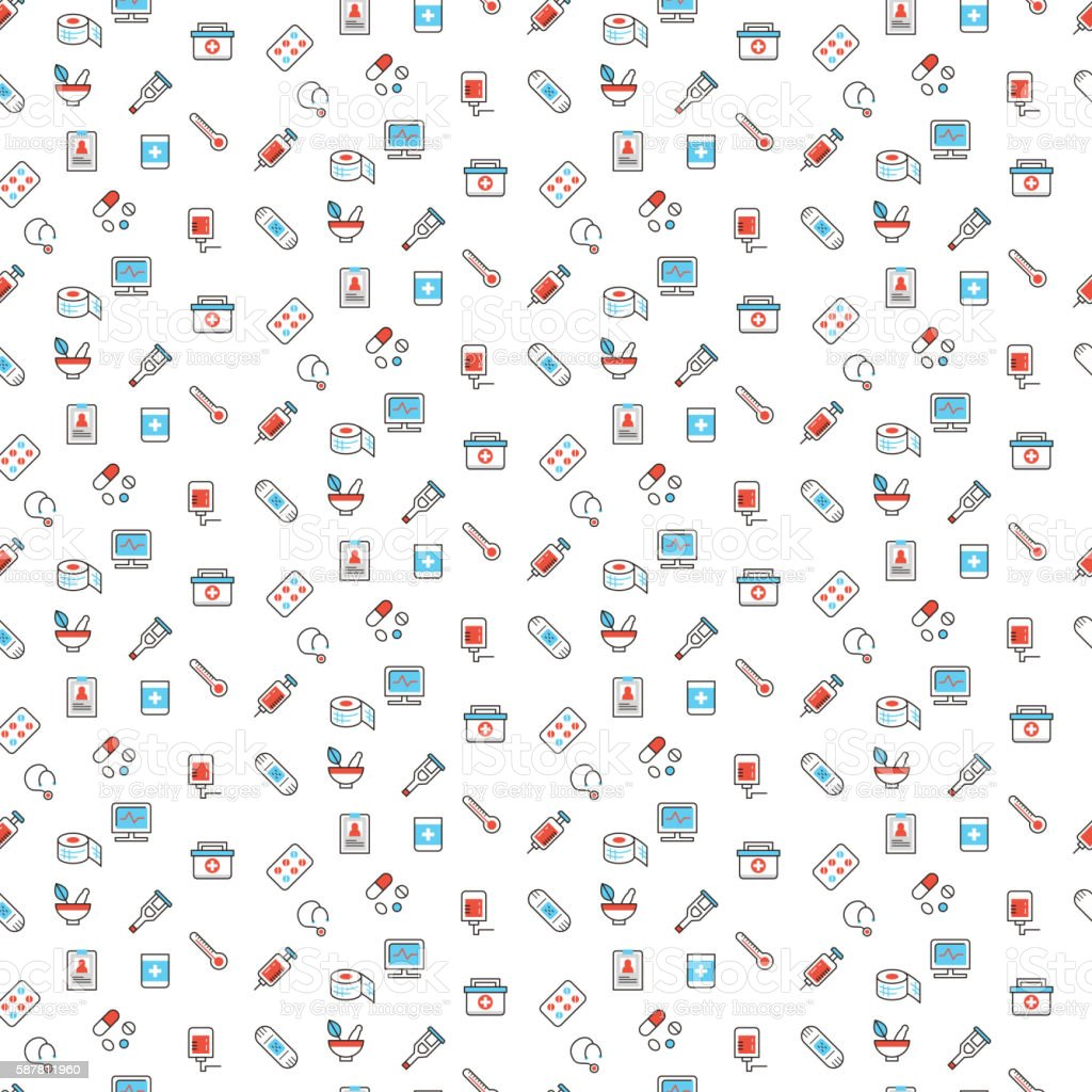 Medical symbols seamless pattern vector art illustration