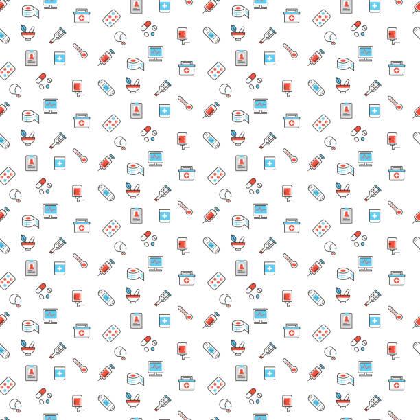 medical symbols seamless pattern - 救急救命士点のイラスト素材/クリップアート素材/マンガ素材/アイコン素材