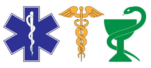 医療シンボル記号 - ヘルメスの杖点のイラスト素材/クリップアート素材/マンガ素材/アイコン素材
