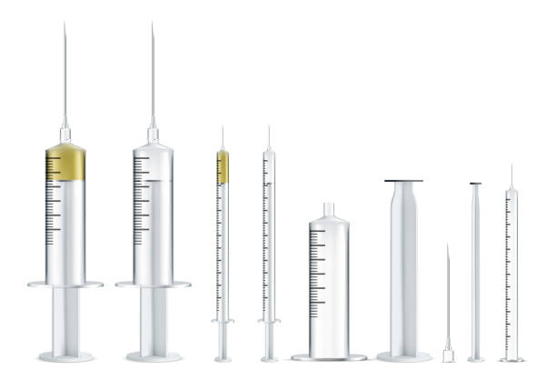 medical syringe illustrations set. realistic syringe collection isolated on white background. - flu shot stock illustrations