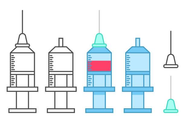 medical syringes vector icons set isolated on a white background. - flu shot stock illustrations