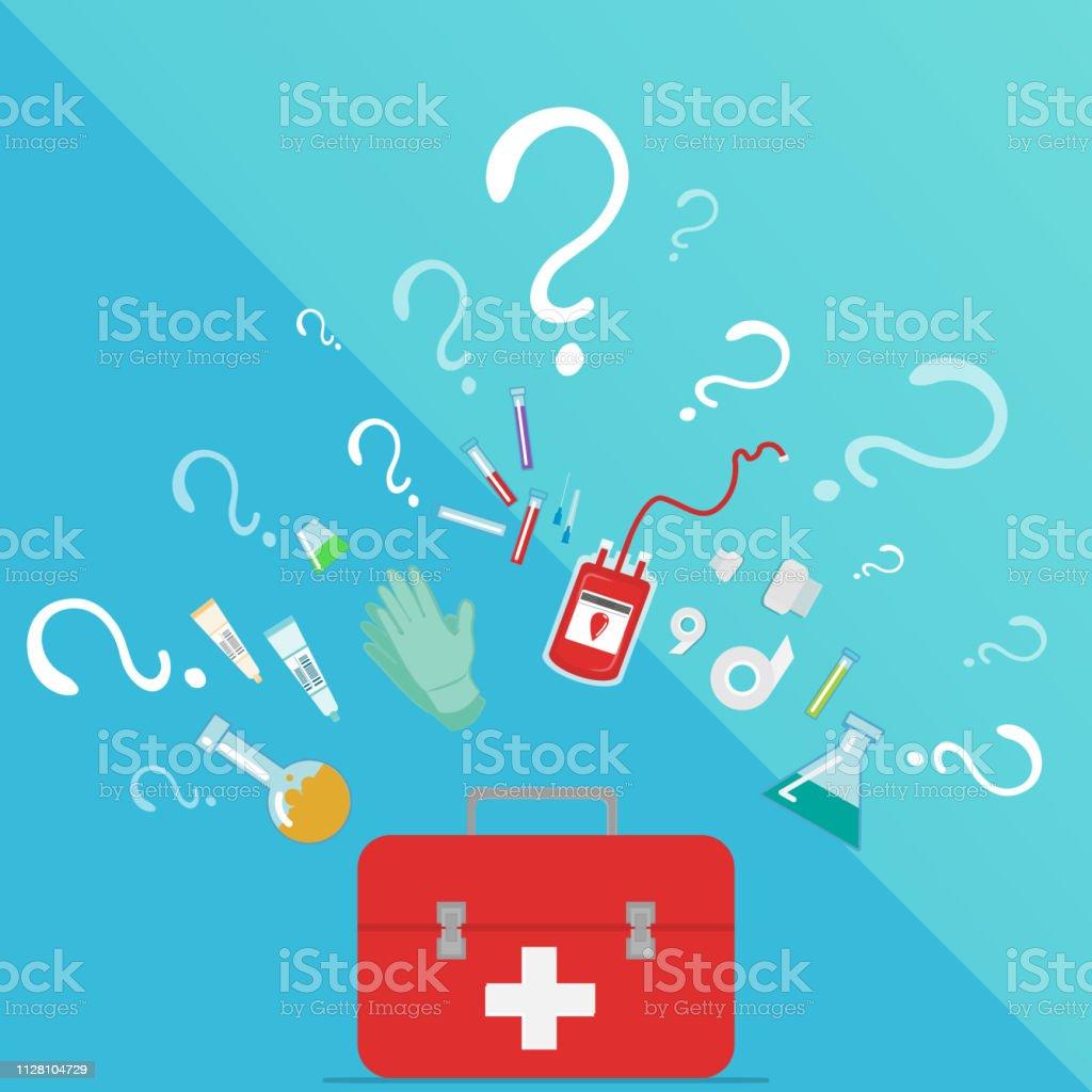 Medical Taking Blood donation kit laboratory equipment - Векторная графика Аптека роялти-фри