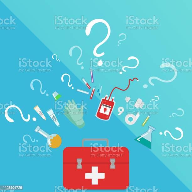 Medical Taking Blood Donation Kit Laboratory Equipment — стоковая векторная графика и другие изображения на тему Аптека