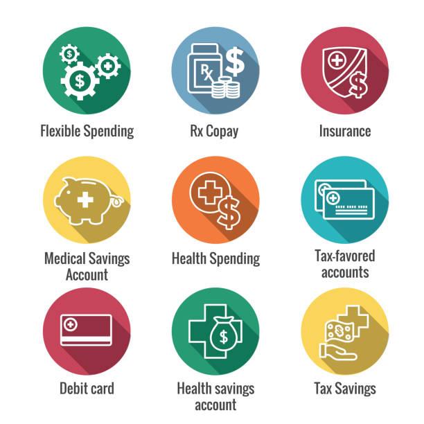 medizinische steuerersparnis - gesundheit sparkonto oder flexible ausgaben konto hat hsa, fsa, steuer-geschützten einsparungen - geschäftliche aktivitäten stock-grafiken, -clipart, -cartoons und -symbole