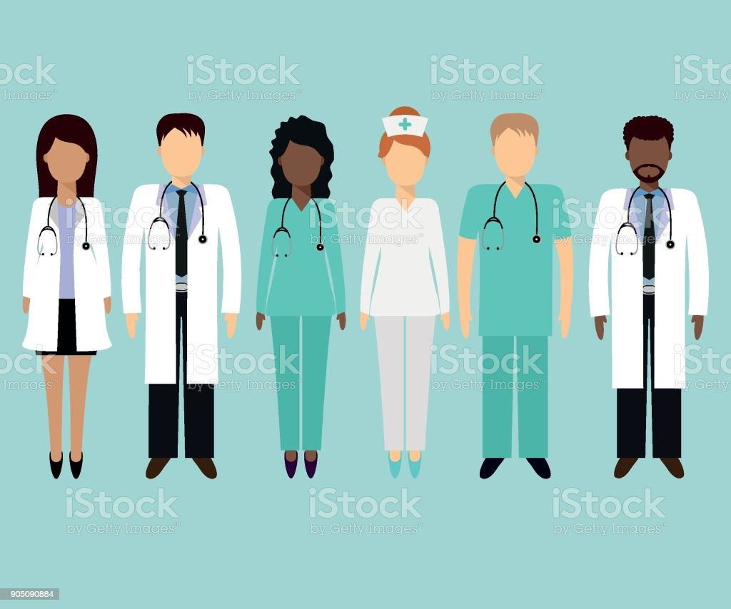 Medical team 2 vector art illustration