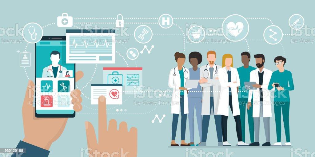 Medicinska teamet och hälso-och app - Royaltyfri Analysera vektorgrafik