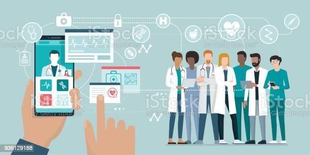 Medicinska Teamet Och Hälsooch App-vektorgrafik och fler bilder på Analysera