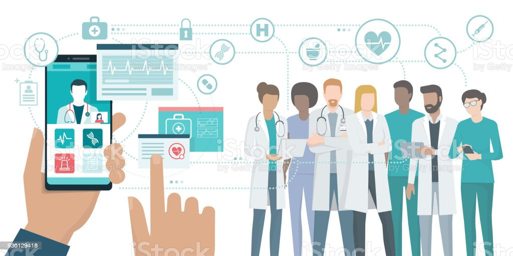 Medical team and healthcare app vector art illustration