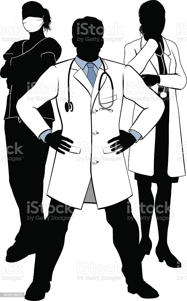 medical team doctors and nurses group silhouettes stock vector art Surgery Team Humor medical team doctors and nurses group silhouettes illustration