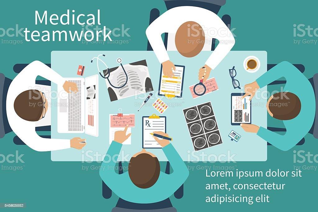 Medical team doctors at desktop vector art illustration