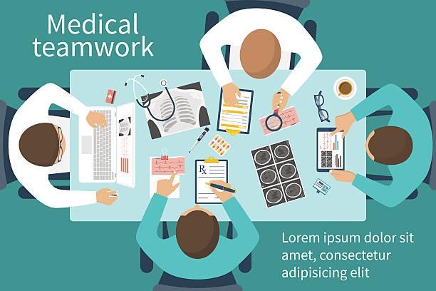 illustrazioni stock, clip art, cartoni animati e icone di tendenza di medical team doctors at desktop - business meeting, table view from above