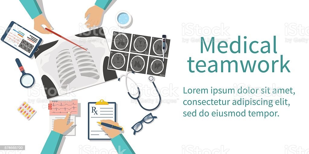Medical team doctors desktop vector art illustration