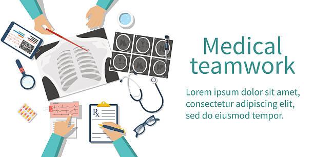 illustrazioni stock, clip art, cartoni animati e icone di tendenza di medical team doctors desktop - business meeting, table view from above
