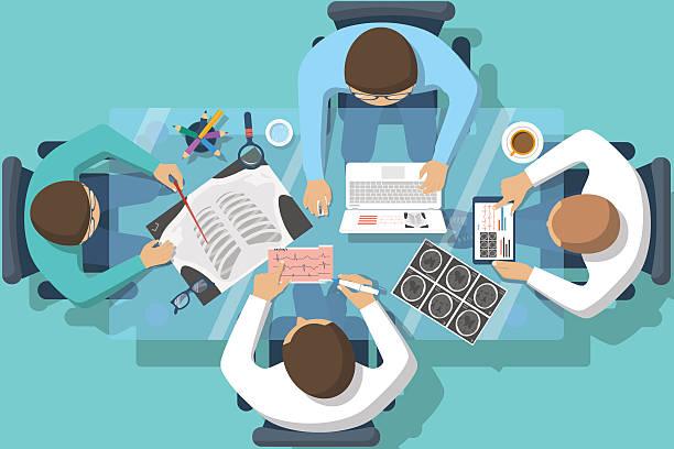 illustrazioni stock, clip art, cartoni animati e icone di tendenza di squadra medico medici - business meeting, table view from above