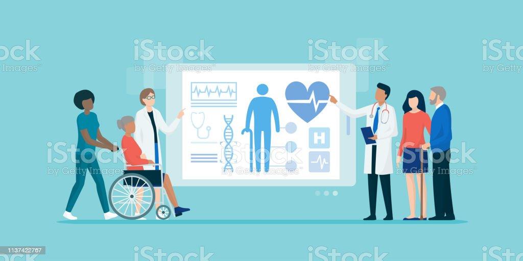 Medizinisches Team, das ältere Patienten mit einem Tablet untersucht – Vektorgrafik