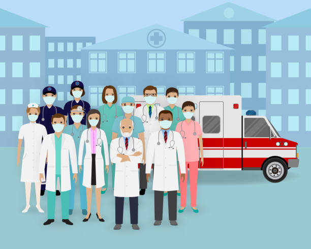 medical team. group of doctors and nurses with masks and ambulance car. emergency medical service employee - essential workers stock illustrations