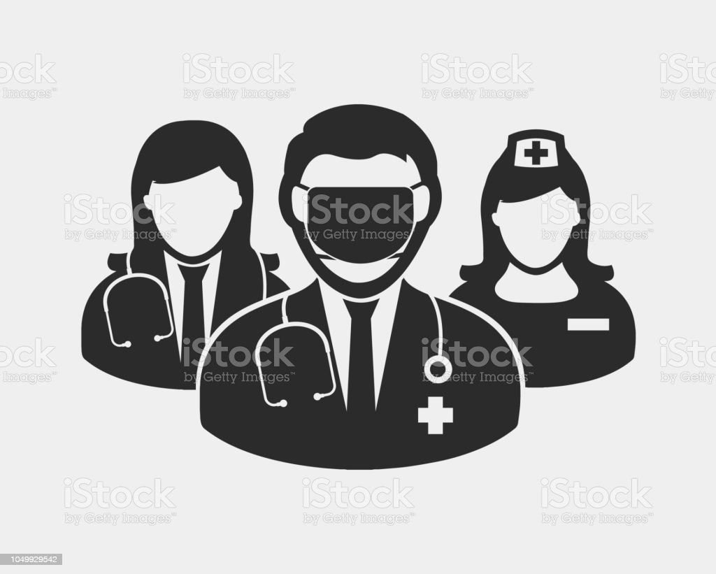 Medical Team Icon Male And Female Doctor Nurse And Surgeon Symbols