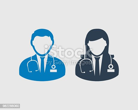 Medical Team Icon Male And Female Doctor Symbols On Gray Background