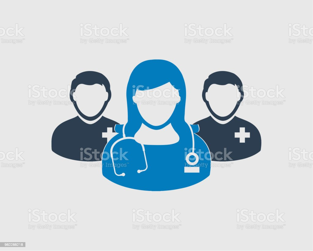Medical Team Icon. Male and female doctor symbols on gray background. vector art illustration