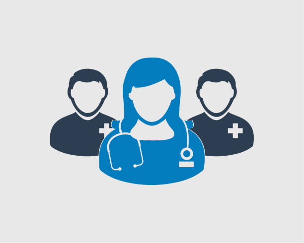 illustrazioni stock, clip art, cartoni animati e icone di tendenza di medical team icon. male and female doctor symbols on gray background. - personale medico