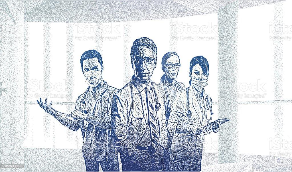 Équipe médicale dans le bureau contemporain u cliparts vectoriels