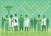 Medical Team in Green on Checked Background