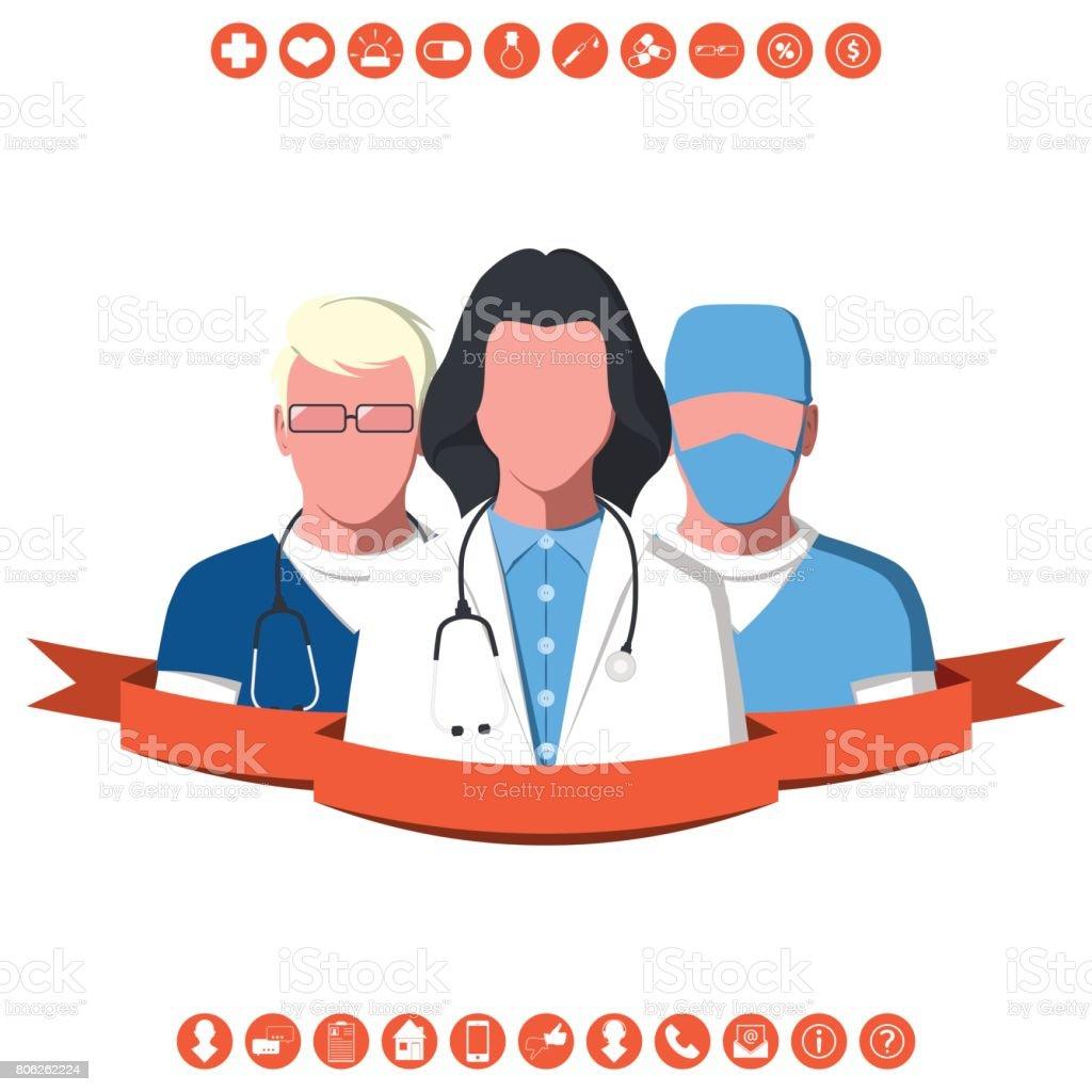 Medical team of ambulance vector art illustration