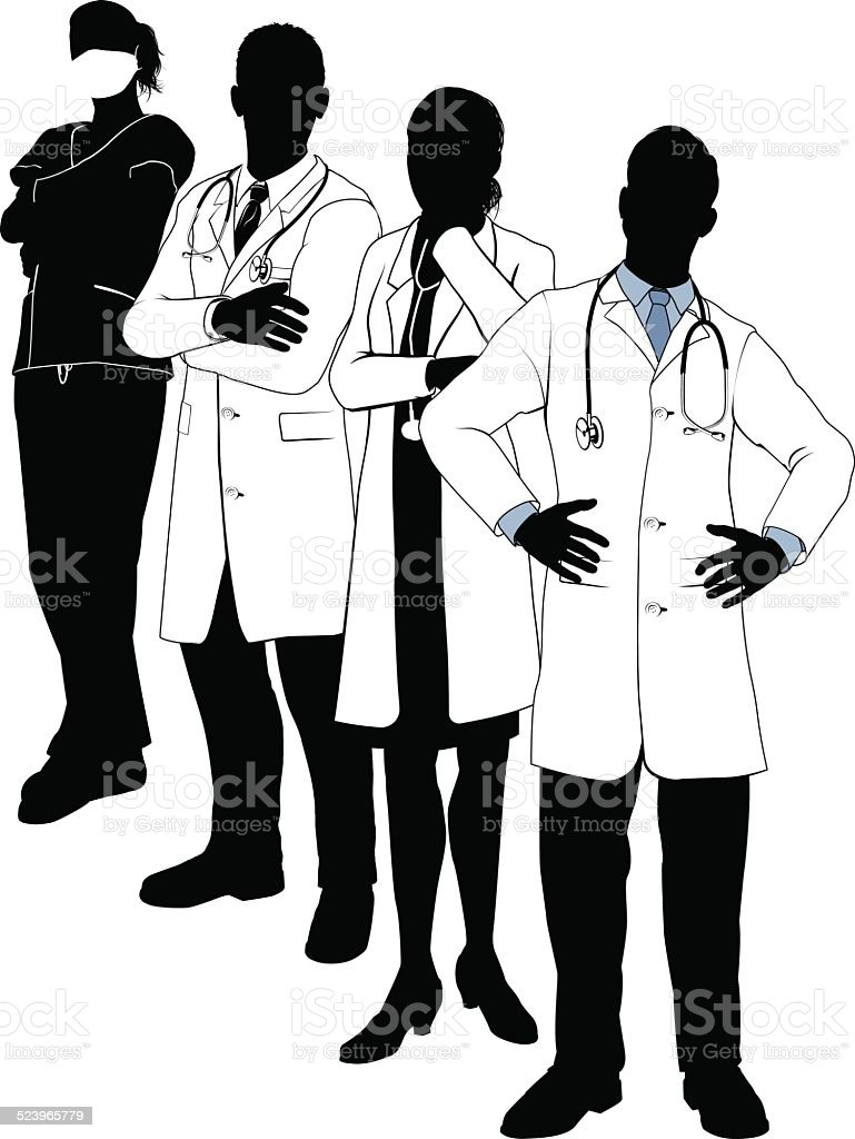 medical team silhouettes stock vector art more images of adult Surgery Committee medical team silhouettes illustration