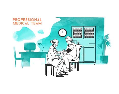 medical team sketch illustration
