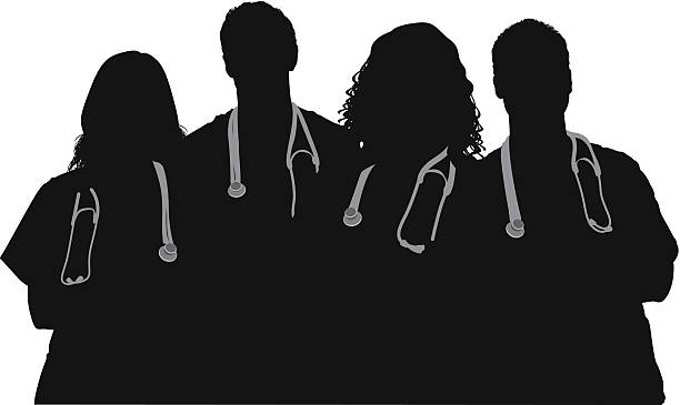 Medical team standing with arms crossed vector art illustration