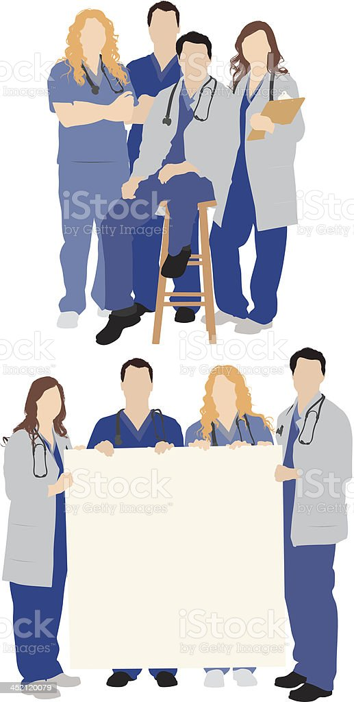 Medical team vector art illustration