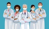Medical team is wearing face masks and standing crossed arms. Group of confident doctors are ready to virus pandemic. Isolated vector illustration.