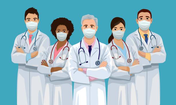 얼굴 마스크를 착용한 의료팀 - doctor stock illustrations