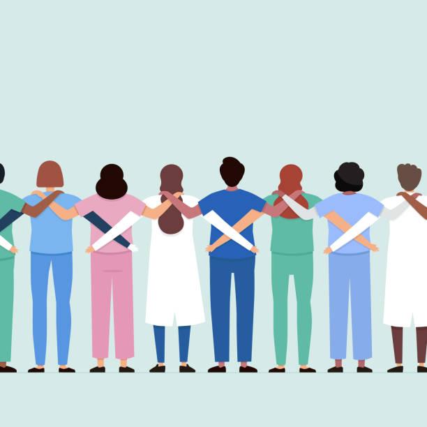 zespół medyczny współpracujący ze sobą - praca zespołowa stock illustrations