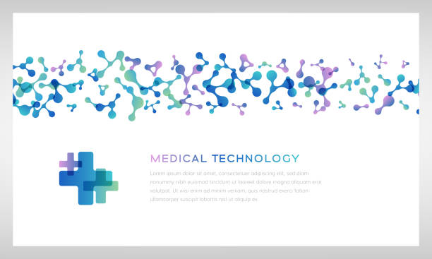 Medical technology banners. Vector illustration with molecules texture. Pharmacy, biotechnology, laboratory concept. Medical technology banner. Vector illustration with molecules texture. Pharmacy, biotechnology or laboratory concept. medical technology stock illustrations