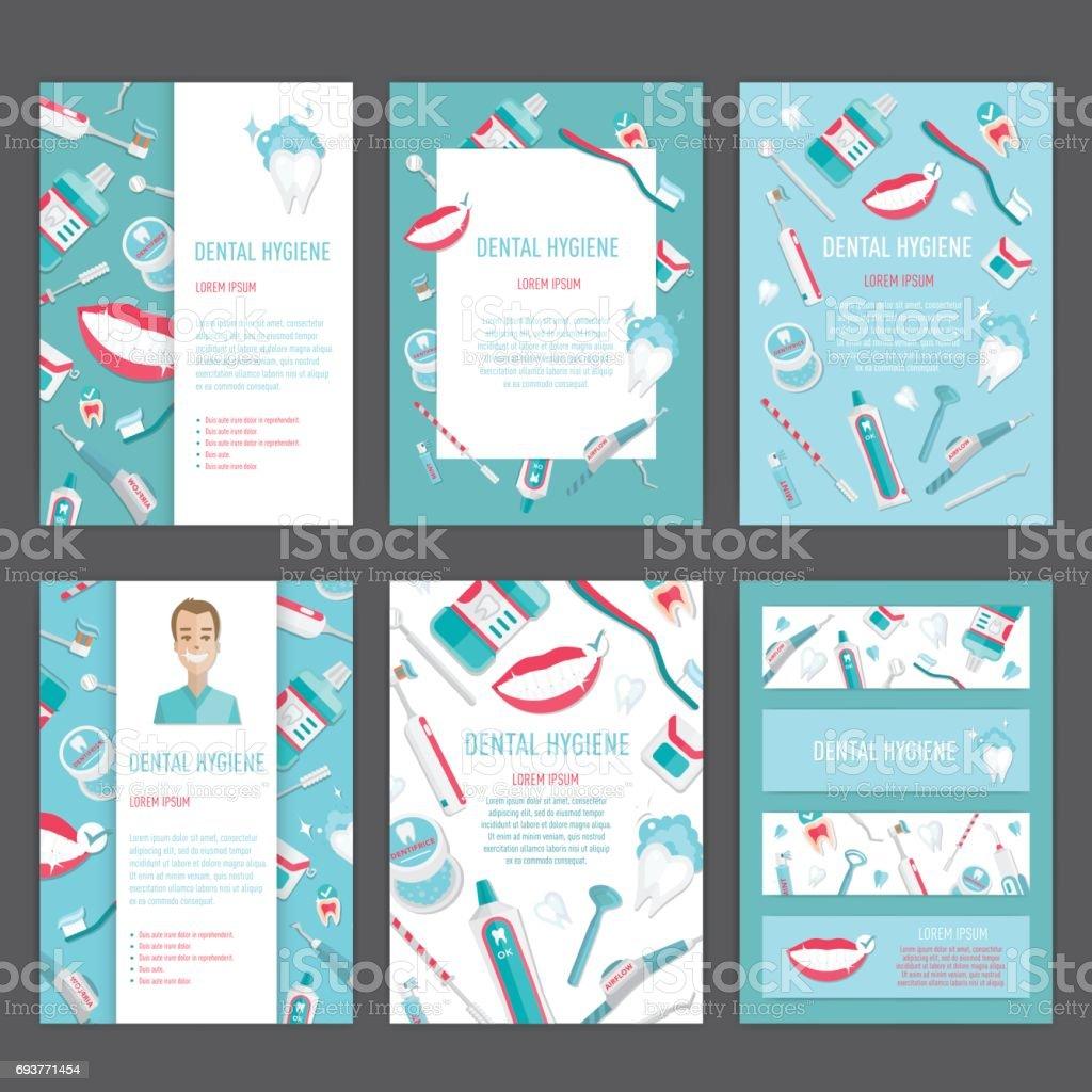Medical teeth hygiene leaflet template design vector art illustration