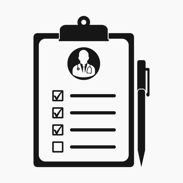 Medical Test Report Icon on clipboard symbol. Flat style vector EPS. Medical Test Report Icon on clipboard symbol. Flat style vector EPS. clipboard stock illustrations