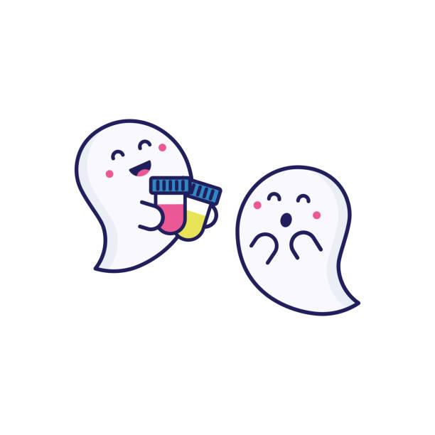 medizinischer test. reagenzgläser mit blut- und urintests. medizinische plakat mit zwei niedlichen geistern für halloween - mutterschaftshalloween stock-grafiken, -clipart, -cartoons und -symbole