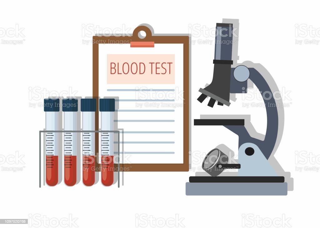 Medicinsk provrör med blod i hållare, testresultat och mikroskopet på vitt. - Royaltyfri Analysera vektorgrafik