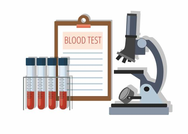 Medical test tubes with blood in holder, test results and Microscope on white. Medical test tubes with blood in holder, test results and Microscope on white. Vector Illustration blood testing stock illustrations
