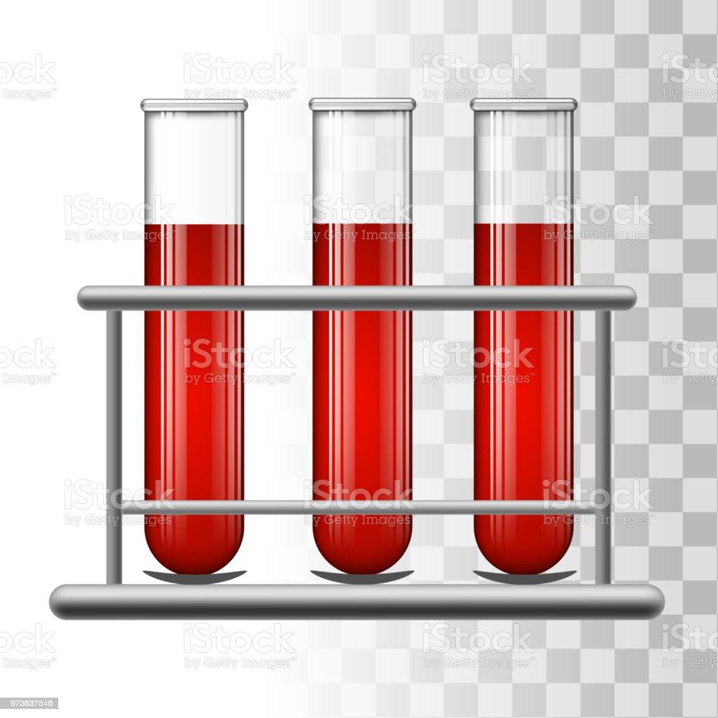 Medical test tubes with blood in rack. Transparent glass flasks. Vector illustration. vector art illustration