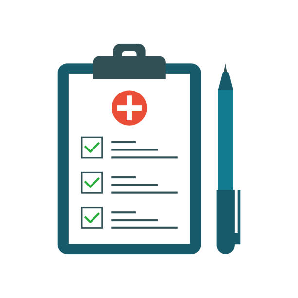 Medical test with pen in flat style. Questionnaire on a clipboard paper. Medical form list with test results, insurance or medicine service concept, prescription record. Vector illustration Medical test with pen in flat style. Questionnaire on a clipboard paper. Medical form list with test results, insurance or medicine service concept, prescription record. Vector illustration. clipboard stock illustrations