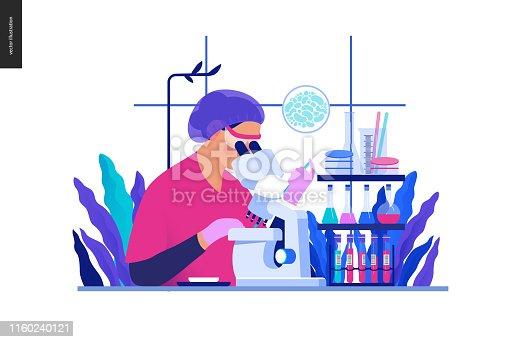 istock Medical tests Blue illustration - chemical laboratory analysis 1160240121