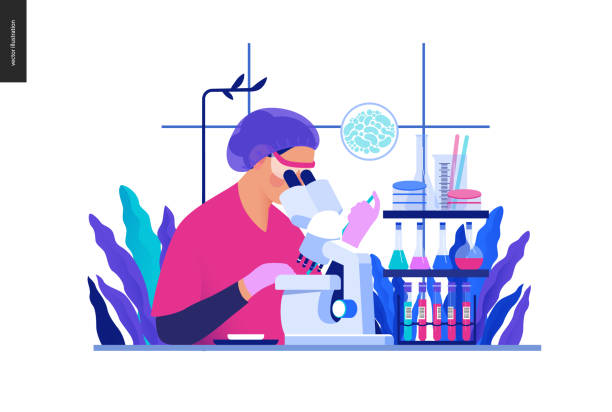 ilustrações de stock, clip art, desenhos animados e ícones de medical tests blue illustration - chemical laboratory analysis - laboratory