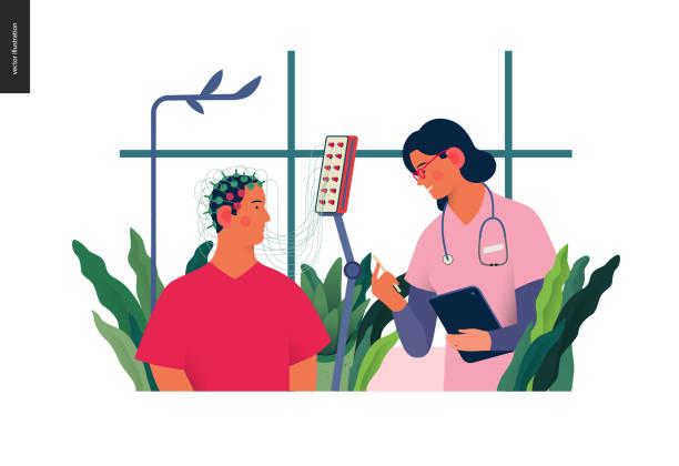 illustrazioni stock, clip art, cartoni animati e icone di tendenza di medical tests illustration - eeg - elettrodo