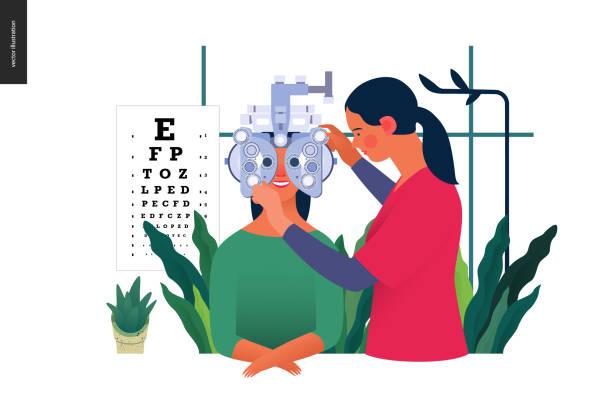 ilustraciones, imágenes clip art, dibujos animados e iconos de stock de pruebas médicas plantilla-pruebas oculares y anteojos recetados - optometrista