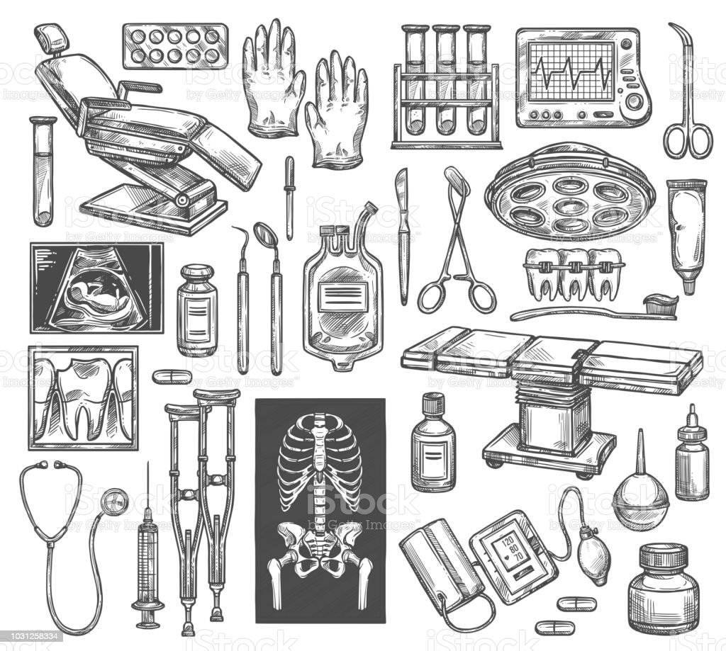 Medical surgery or therapy equipment sketch icons. Vector isolated...