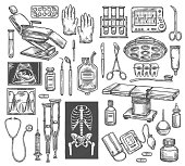 istock Medical therapy surgery vector sketch equipment 1031258334